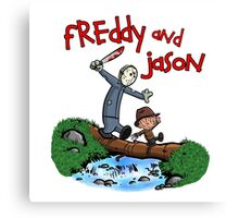 Freddy and Jason - Calvin and Hobbes Mash Up Canvas Print