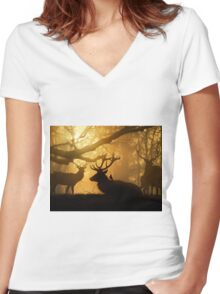 Stags Thawing Out After A Cold Night Women's Fitted V-Neck T-Shirt