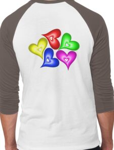 Playful Hearts Men's Baseball ¾ T-Shirt