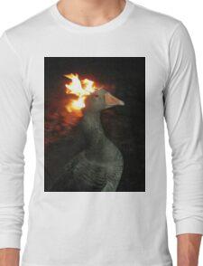 Fire Duck (goose on fire) Long Sleeve T-Shirt
