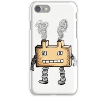Orange Block Robot With Smoke Stacks Illustration iPhone Case/Skin