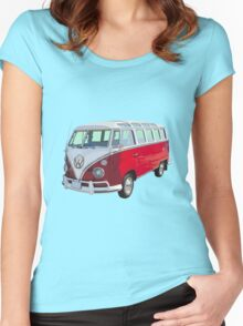 VW 21 window Mini Bus red and White Women's Fitted Scoop T-Shirt