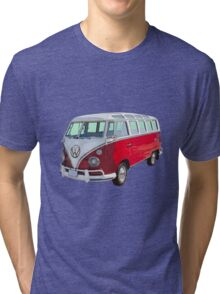 VW 21 window Mini Bus red and White Tri-blend T-Shirt