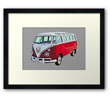 VW 21 window Mini Bus red and White Framed Print