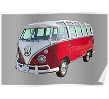 VW 21 window Mini Bus red and White Poster