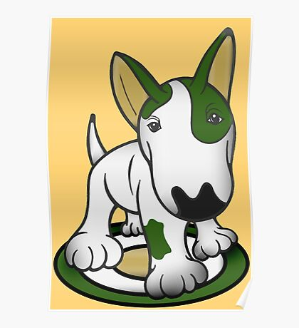 Bull Terrier Eye Patch Pup White & Greens Poster