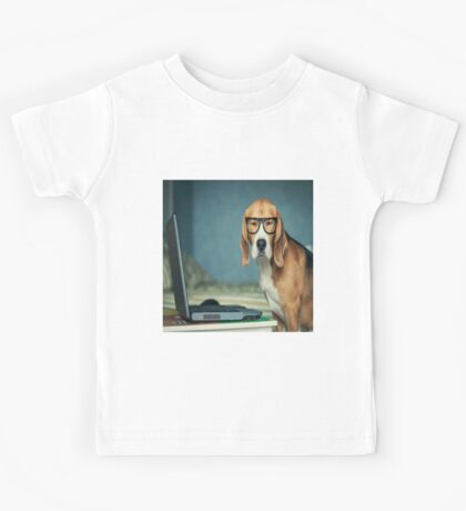 Beagle with glasses and laptop.Cute,cool,digital picture,beagle,dog,pet,laptop,glasses,modern,trendy,fun Kids Tee