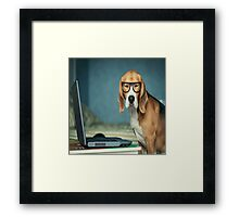 Beagle with glasses and laptop.Cute,cool,digital picture,beagle,dog,pet,laptop,glasses,modern,trendy,fun Framed Print