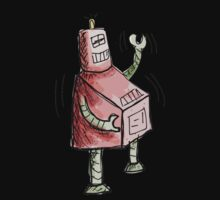 Red and Green Laughing Robot Knee Slapping One Piece - Short Sleeve
