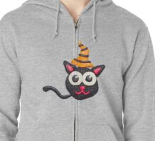 Black plasticine cat Zipped Hoodie