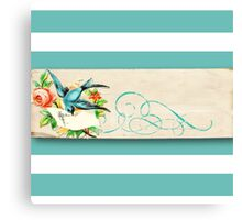shabby chic,teal,white,stripes,rustic,parchment,grunge,paper,bird,flowers,floral,wavy, Canvas Print