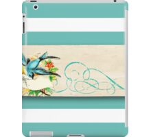 shabby chic,teal,white,stripes,rustic,parchment,grunge,paper,bird,flowers,floral,wavy, iPad Case/Skin