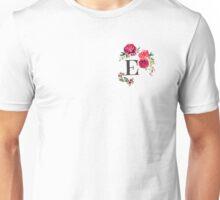 Floral Monogram Watercolor E Unisex T-Shirt