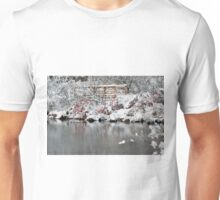 The pond, the snow, and the footbridge Unisex T-Shirt
