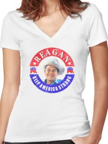 Retro 80s Reagan Keep America Strong Women's Fitted V-Neck T-Shirt
