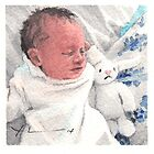 Newborn and bunny watercolor by Mike Theuer
