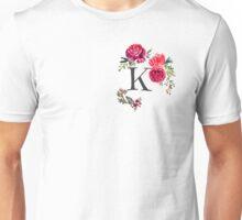 Floral Monogram Watercolor Letter K Unisex T-Shirt