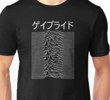 UNKNOWN PLEASURES WITH GAY PRIDE AS THE WORD IN JAPENESE BECAUSE WE'RE PRETENTIOUS LIKE THAT Unisex T-Shirt