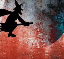 Halloween....A witch and her broomstick Sticker