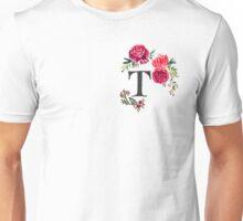Floral Monogram Watercolor Letter T Unisex T-Shirt