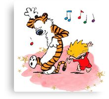 Calvin and Hobbes Dancing On The Floor Canvas Print