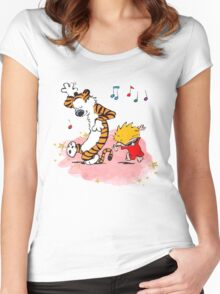 Calvin and Hobbes Dancing On The Floor Women's Fitted Scoop T-Shirt