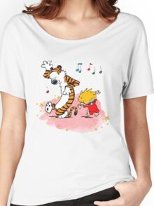 Calvin and Hobbes Dancing On The Floor Women's Relaxed Fit T-Shirt