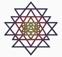 Triangle Mandala (yellow purple) Sri Yantra Sacred Geometry Symbol . Kids Tee