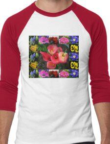Memories of Sunnier Days Floral Collage Men's Baseball ¾ T-Shirt