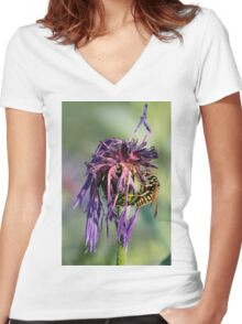 wasp on flower Women's Fitted V-Neck T-Shirt