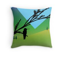 Hummingbird in black silhouette over landscape illustration Throw Pillow