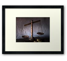 antique wooden balance scales Framed Print