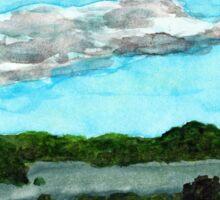 Henderson Harbor, New York, watercolor by Dan Vera Sticker