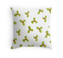 Christmas Holly and Berry Throw Pillow