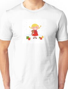 Happy winter blond child with teddy bear and christmas gifts Unisex T-Shirt