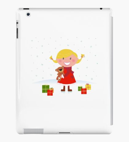 Happy winter blond child with teddy bear and christmas gifts iPad Case/Skin