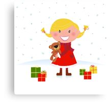 Happy winter blond child with teddy bear and christmas gifts Canvas Print