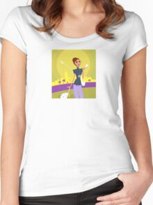 Stylish woman on her travels at airport Women's Fitted Scoop T-Shirt