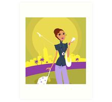 Stylish woman on her travels at airport Art Print