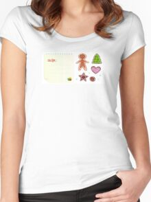 Cookies or christmas icons with recipe isolated on white Women's Fitted Scoop T-Shirt