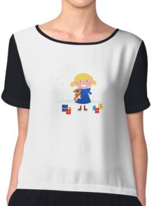 Happy winter blond child and christmas gift Chiffon Top