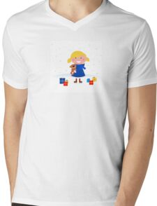 Happy winter blond child and christmas gift Mens V-Neck T-Shirt