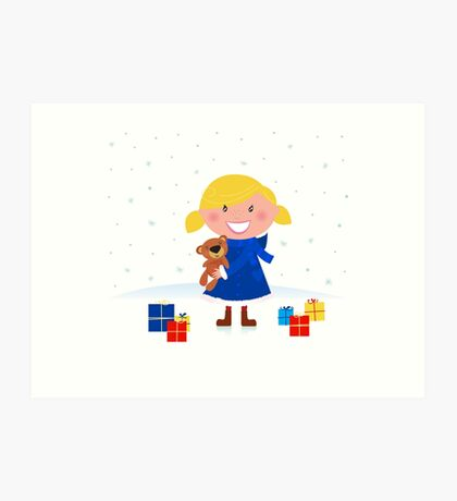Happy winter blond child and christmas gift Art Print