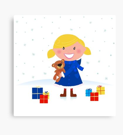 Happy winter blond child and christmas gift Canvas Print