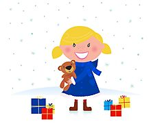 Happy winter blond child and christmas gift Photographic Print