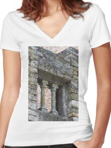 old building Women's Fitted V-Neck T-Shirt