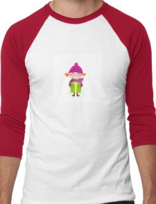 Cute Christmas girl with present isolated on white Men's Baseball ¾ T-Shirt
