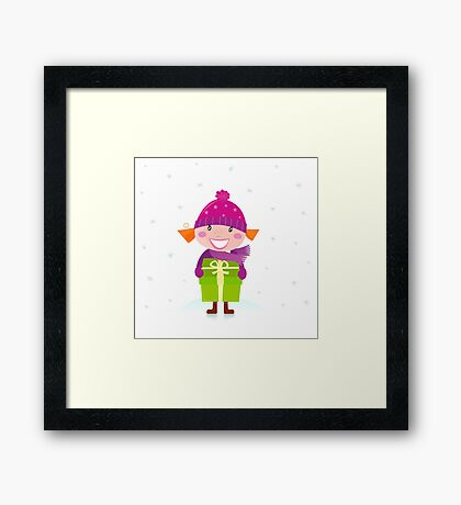 Cute Christmas girl with present isolated on white Framed Print
