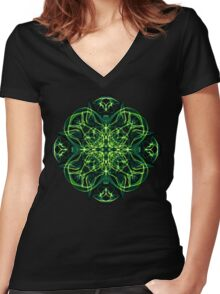 Energetic Geometry -  Green Celtic Cross & Clover Sacred Geometry Mandala Abstract Women's Fitted V-Neck T-Shirt