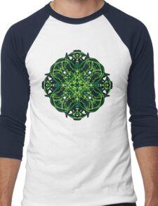 Energetic Geometry -  Green Celtic Cross & Clover Sacred Geometry Mandala Abstract Men's Baseball ¾ T-Shirt